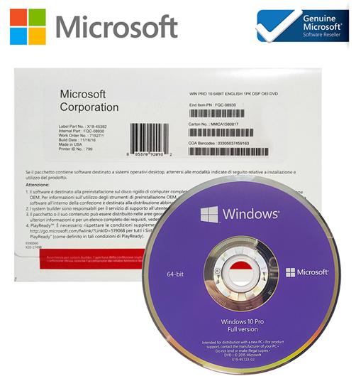Picture of Win Pro 10 64Bit Eng Intl 1pk DSP OEI DVD (FQC-08929)